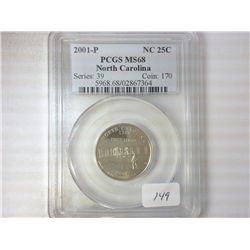 2001-P NORTH CAROLINA QUARTER PCGS MS68