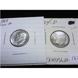 1964-D (VERY FINE) & 1964 PROOF SILVER ROSY DIMES