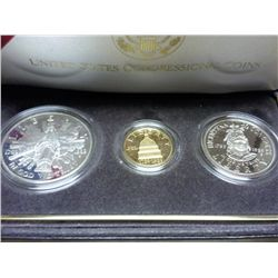 1989 CONGRESSIONAL 3 COIN WITH GOLD PF SET