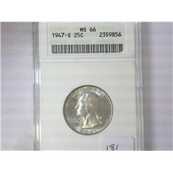 1947-S WASHINGTON QUARTER ANACS MS66