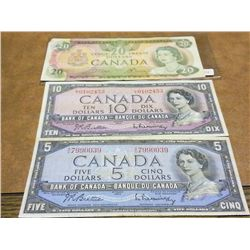 1954 CANADA $5 &$10 DOLLARS & 1979 $20 CURRENCY