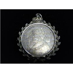 VERY NEAT SILVER PENDANT WITH 1897 SWEDEN 2 KRONER