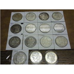 15 ASSORTED MORGAN SILVER DOLLARS
