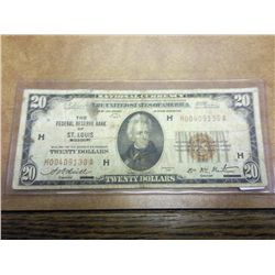 1929 $20 NATIONAL CURRENCY ST. LOUIS