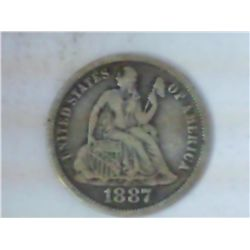 1887 SEATED LIBERTY QUARTER (VERY FINE)