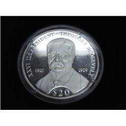 2000 LIBERIA SILVER $20 PROOF PRES. ROOSEVELT