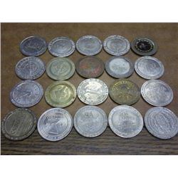 20 ASSORTED $1 CASINO TOKENS