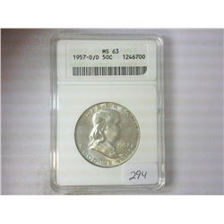 1957-D/D FRANKLIN HALF DOLLAR ANACS MS63