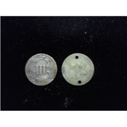 2 (HOLED) THREE CENT PIECE (SILVERS)