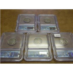 5 ICG BUFFALO NICKEL SLABS 1930,30,35,36-S & 37