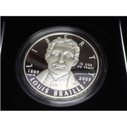 2009 LOUIS BRAILLE PROOF SILVER DOLLAR