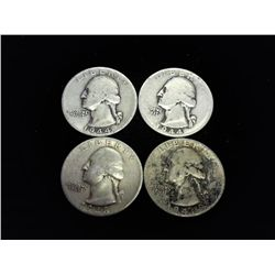 4 ASSORTED 1940 WASHINGTON SILVER QUARTERS
