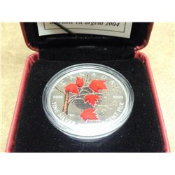 2004 CANADA COLORIZED SILVER $5 MAPLE LEAF