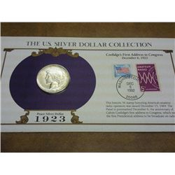 1923-S PEACE SILVER DOLLAR AND STAMP SET