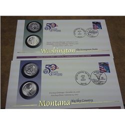 2 US MINT US 50 STATE QUARTERS FDC'S (MT & WA)