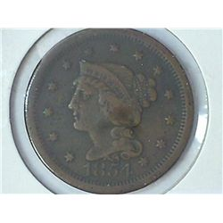 1854 US LARGE CENT DIVIT ON REV.
