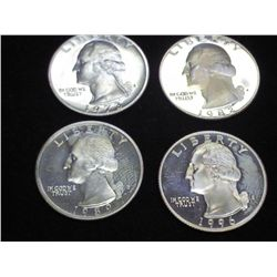 1973-S, 82-S,89-S & 96-S WASHINGTON QUARTERS PROOF