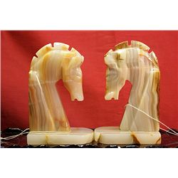 Original Hand Carved Marble  Horses Heads  by G. Huerta