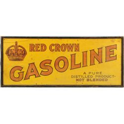 Red Crown Gasoline Wooden Advertising Sign