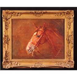 """Star Ruby"" Race Horse Portrait Oil Painting"
