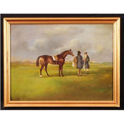 Early Horse Racing Scene Oil Painting