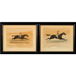 Currier & Ives Hand Colored Race Horse Prints 1871