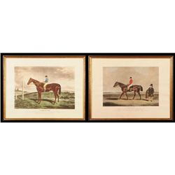 Two Horse Racing Hand Colored Lithograph Prints