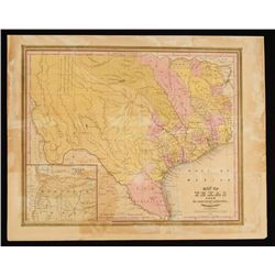1845 Map of Texas by C.S. Williams