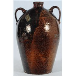 J. S. Nash Ovoid Two Handled Jar Texas Stoneware