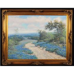 Robert Harrison Bluebonnet Scene Oil on Canvas
