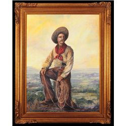 "Robert Harrison ""The Cowboy"" Oil Painting"