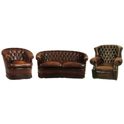 Button Back Leather Sofa & Matching Club Chairs