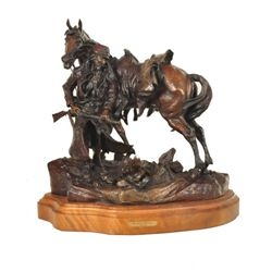 "Mountain Man Bronze ""The Lonely Wolf Song"""
