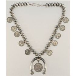 Liberty Silver Dollar Squash Blossom Necklace
