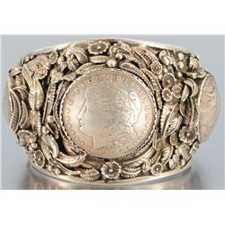 Ornate Silver Dollar Indian Bracelet