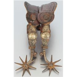 California Silver Inlaid Spurs Circa Early 1900s