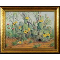 Exa Wall Cactus Scene Oil Painting