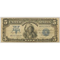 1899 $5 Silver Certificate Indian Chief