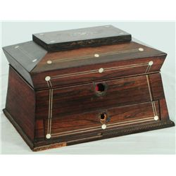 Inlaid Jewelry Box with Writing Desk Drawer