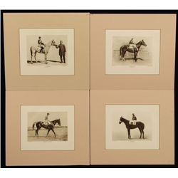 4 Vintage Race Horse & Jockey Photo Prints