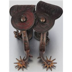 Drop Shank Spurs With Tooled Leather Straps