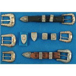 Collection of Ranger Buckle Sets Silver & Gold