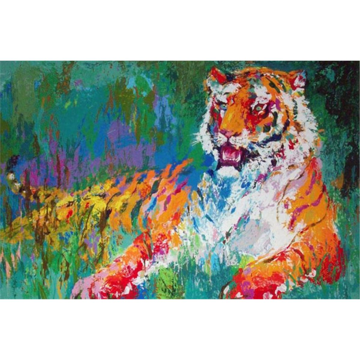 leroy neiman signed golf art print resting tiger. Black Bedroom Furniture Sets. Home Design Ideas