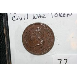1863 Knickerbocker Civil War Token, UNC
