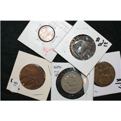 Lot of 5, Various World Coins different dates and conditions