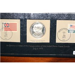 """In Commemoration of the Inauguration of the USPS July 1,1971"" Sterling Silver Franklin-Blount Coin"