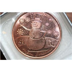 One Oz Copper Christmas Coin, Frosty the Snowman