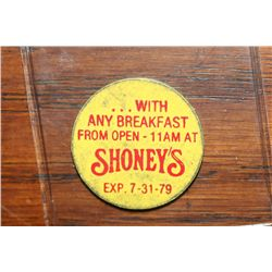 A 5 Cent Cup of Coffee Token from Shoney's Expired 7/31/1979