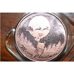 One Oz Copper Christmas Coin, Rudolph the Rednose Reindeer