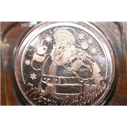 One Oz Copper Christmas Coin, Santa Claus